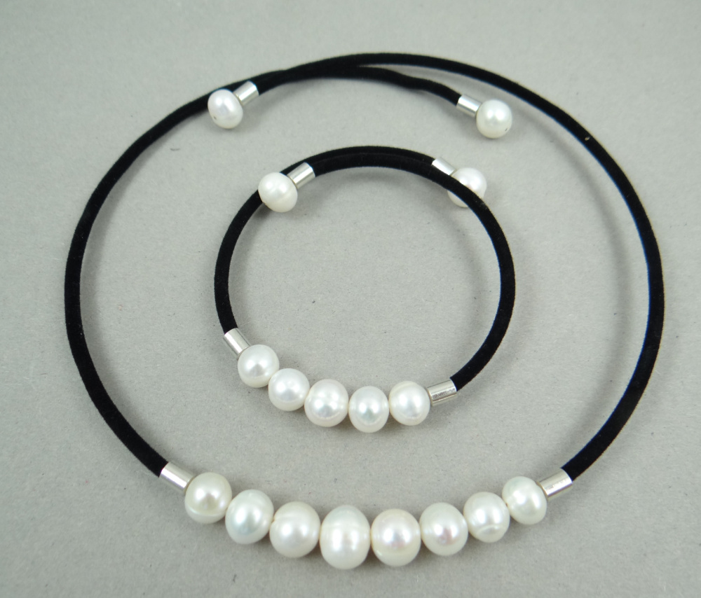 Beautiful Freshwater Pearl 100% Natural Real Pearl necklace Bracelet White Pearls Women necklace Pearl Jewelry P123