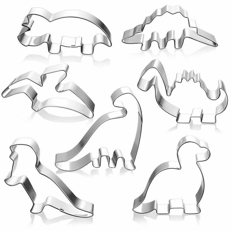 New Stainless Steel Biscuit Mould Dinosaur Shape Fondant Cake Mold DIY Sugar Craft Jurassic 3D Pastry Cookie Cutters Cake Tools