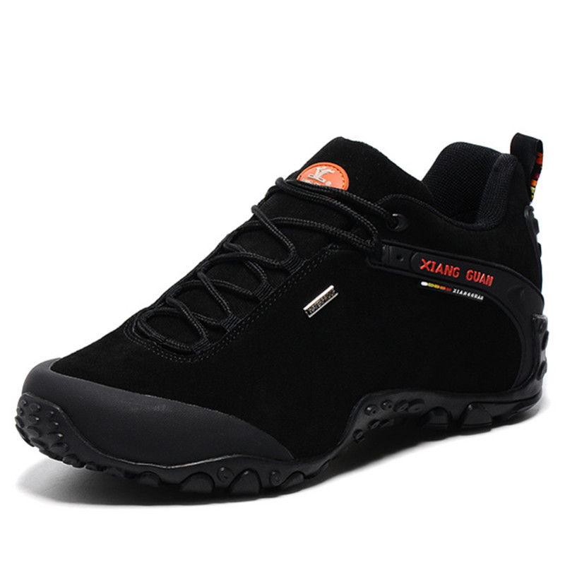 ФОТО XIANGGUAN Hiking Shoes For Men Suede Athletic Trekking Boots Mid high Zapatillas Sports Climbing Shoe Outdoor Walking Sneakers