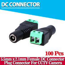 new arrival,100pcs/lot Female DC Connector 5.5/2.1mm CCTV UTP DC Power Plug Adapter Cable DC/AC 2/Camera Video Balun