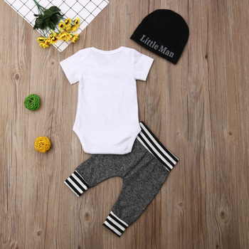 Newborn Baby Boy Romper+Long Pants+Hat 3PCS Outfits Set
