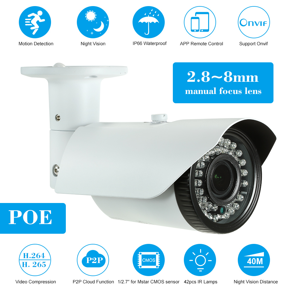 5MP Camera HD Bullet IP Camera 1 2 7 COMS Sensor POE Camera 42pcs IR Lamps
