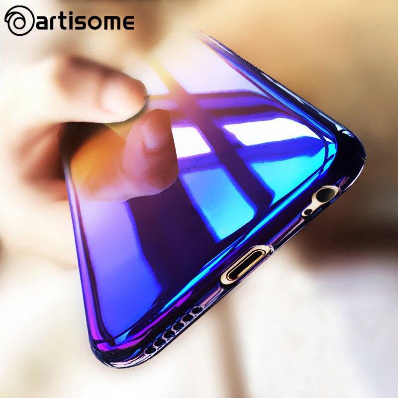 Colorful case para iphone 6 6s 7 plus cubierta case color degradado pc cajas del