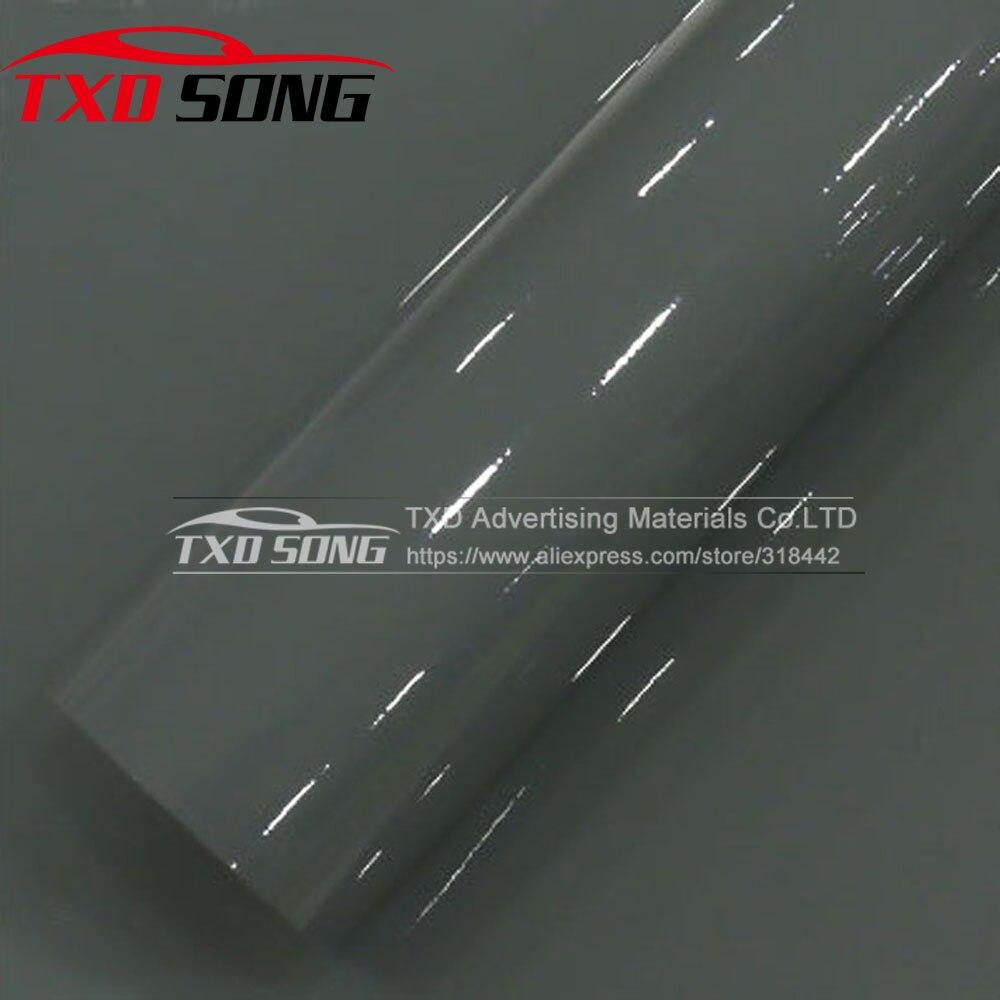 Super Shiny Glossy Vinyl Film High Gloss Vinyl Cement Grey Car Body Wrap Film With Air Drain 1.52*5M/10m/15m/20m For Choice