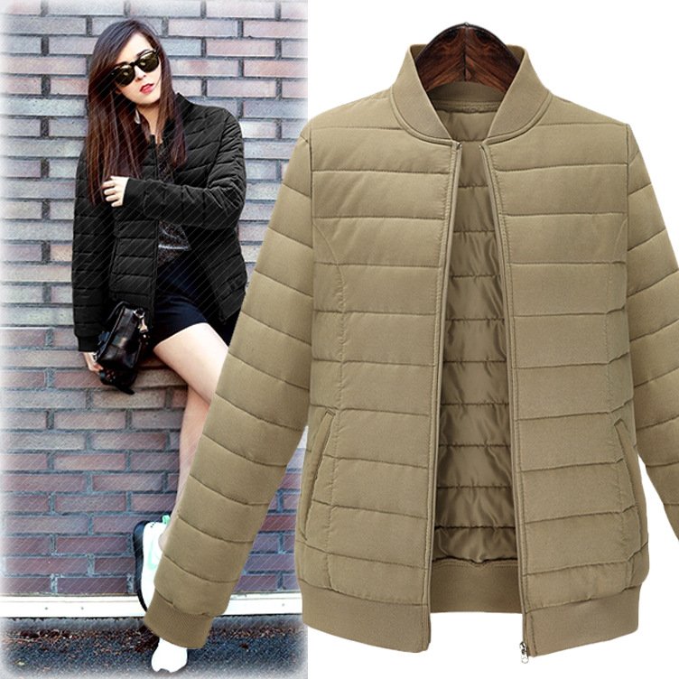 Hot Selling 2016 Winter New Solid Color Cotton Short Jacket Wild Long-sleeved Stand Collar Short Jacket AXD1990