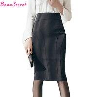 קיץ 2018 משרד גברת שחור עיפרון חצאית נשים סתיו סגנון קוריאני אופנה תחבושת חצאיות גבוה מותן Midi חצאית