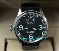ブルー発光左手スタイル 47 ミリメートル黒ダイヤル 6498 メカニカルハンド風ムーブメントメンズ腕時計機械式時計 PA54 8 -