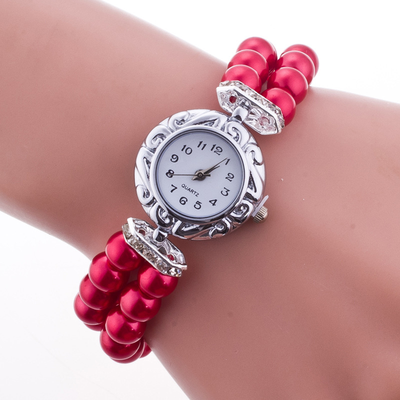 Women Jewelry Watch Bracelet Watches Imitation Pearl Elastic Wristwatch Casual Watches Ladies Fashion Quartz Watch TT@88