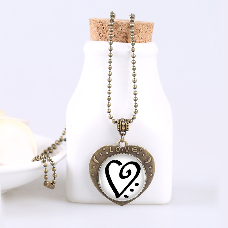 1pclot Zibu Symbol For Unconditional Love Vintage Bronze Long Chain