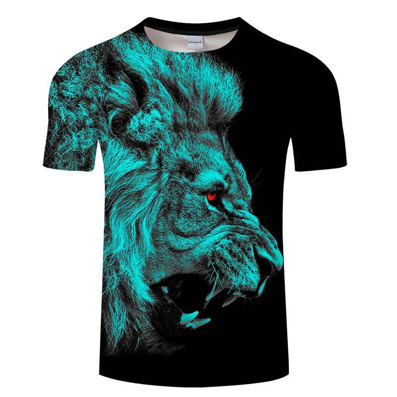 5a4df781 Summer Style Animal Creative T-Shirt Lightning/smoke lion/lizard/water  droplets