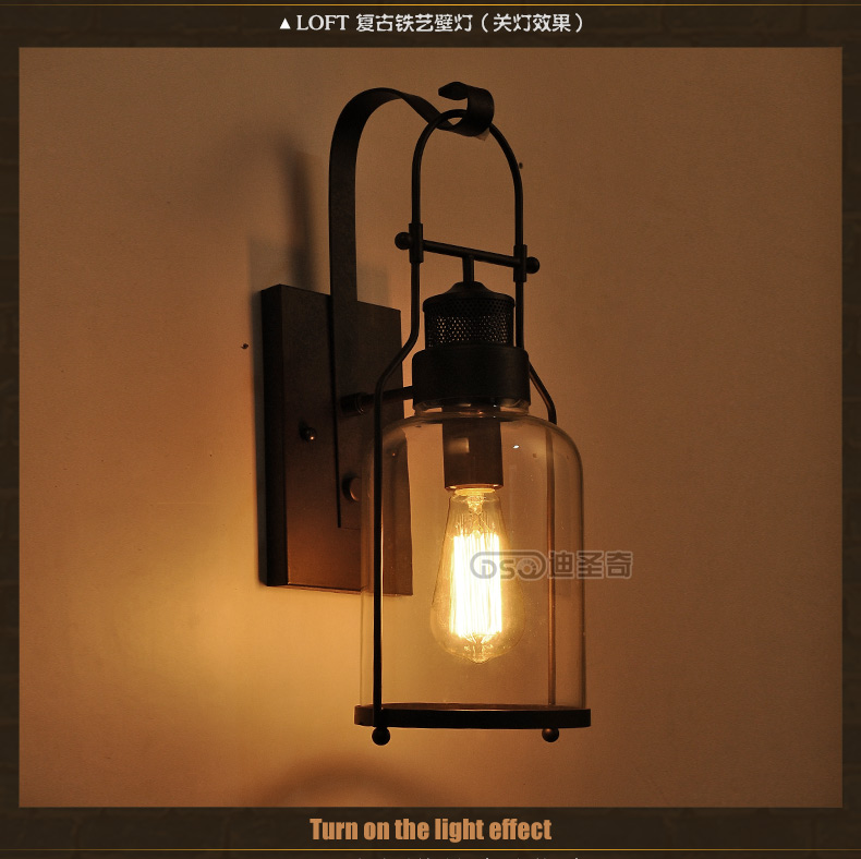 ФОТО American country style restaurant wall retro pastoral corridor lamp glass lamp bedside lamp iron