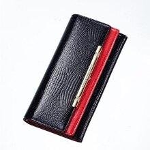 2017 Fashion Purse Women Long Bag High Quality Split Leather Ladies Wallet Female Money Bag Premium Girls Black Red Clutch Bag