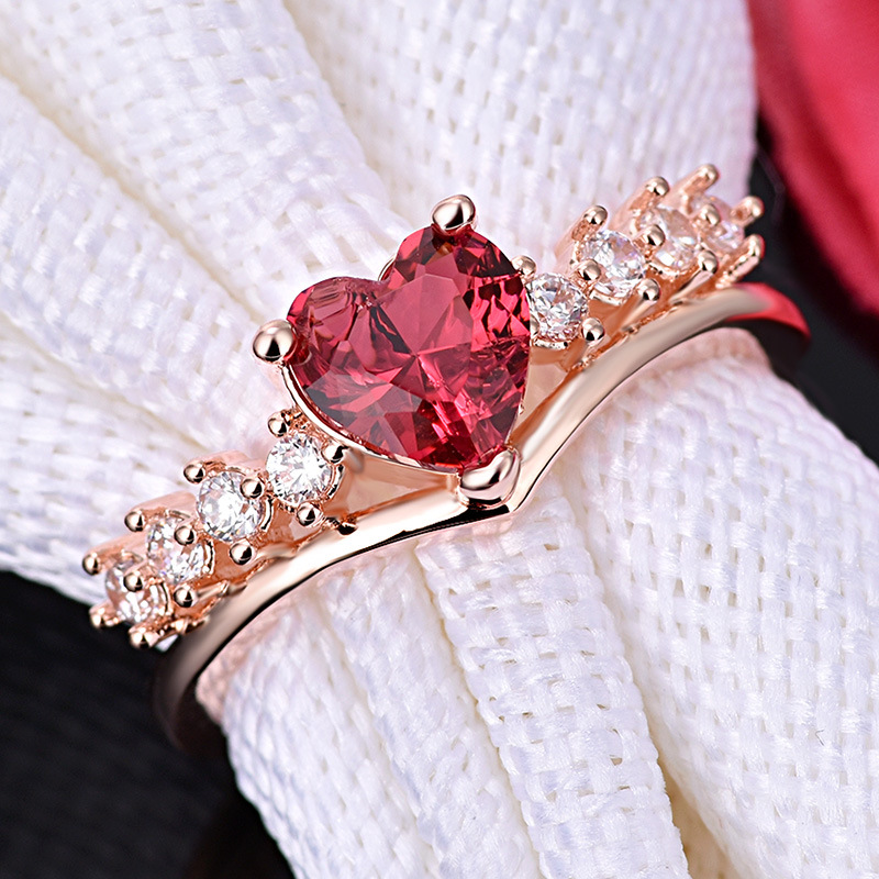 PRECIOUS RUBY RED HEART RING 5