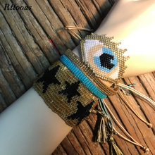 Rttooas Fashion Bracelet Clothing Jewelry Accessories Big Evil Eye Handmade Woven Beads Women Gift
