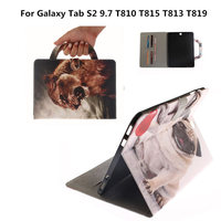 PU Leather Painted Wallet Stand Cases With Card Slots Portable Cover For Samsung Galaxy Tab S2