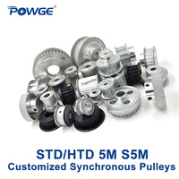 POWGE Arc Teeth HTD 5M STD S5M Synchronous pulley pitch 5mm wheel Gear Manufacture Customizing all kinds of 5M S5M Timing pulley