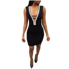 2019 New Summer Womens Sleeveless Sexy Backless Deep V-neck Nightclub Bag Hip Dress Female Short Mini Dress Bodycon Skinny Dress asymetric v neck womens bodycon dress
