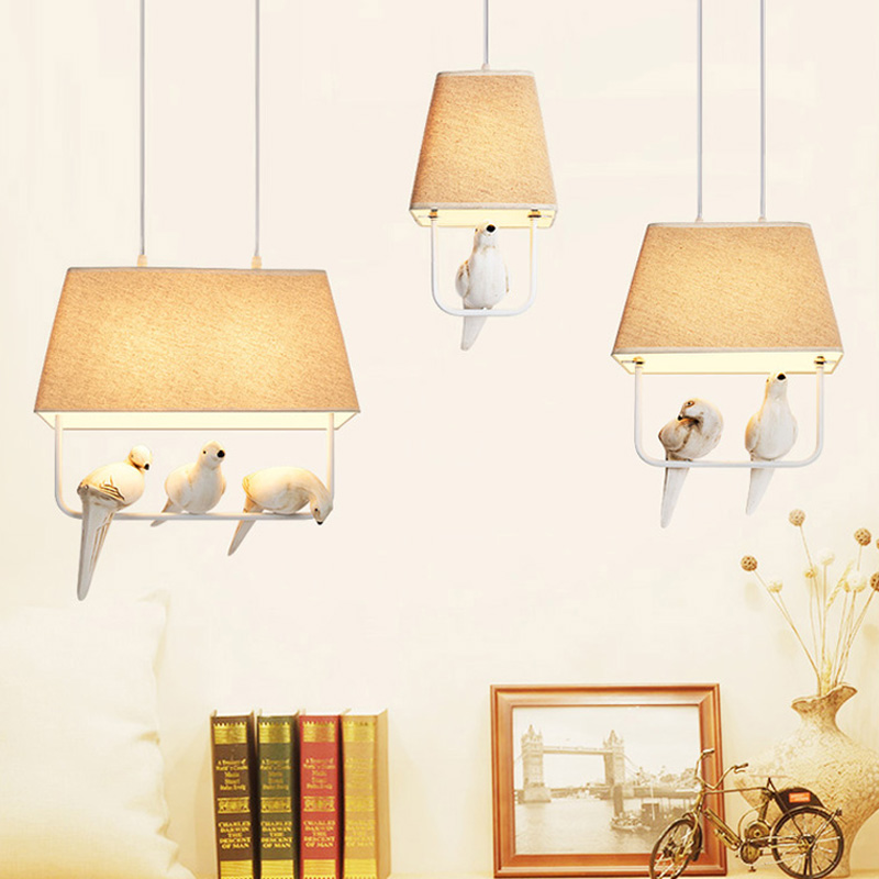 Birds pendant lights vintage lamp resin bird fabric lampshade for kitchen lighting dining room retro loft pendant lamp creative bird cage restaurant iron birds pendant lights vintage lamp for kitchen lighting dining room retro loft pendant lamp
