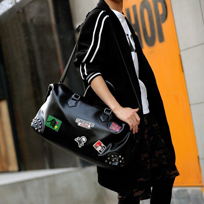 PU cuir souple Fitness sacs de Sport pour hommes Rivet Design formation sac à bandoulière Sport sac à main sac de voyage avec motif XA626WD - 6