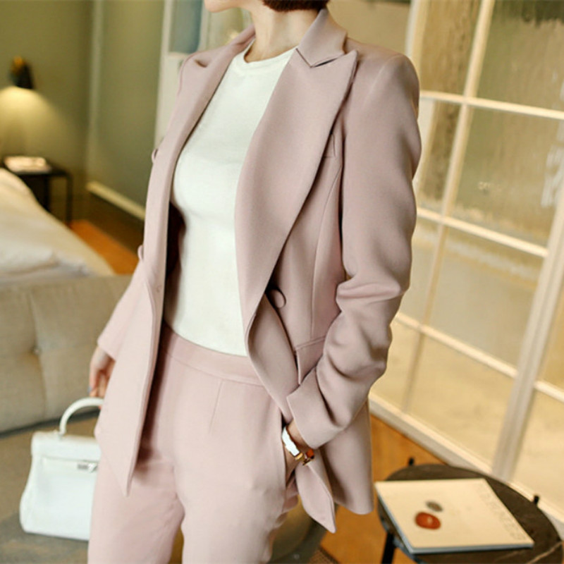 2 pièce set femmes Costume femelle nouveau style Femme d'affaires manteau solide couleur double bouton OL blazers + pantalon pantalon ensemble