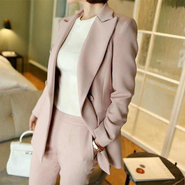 2 piece set women Suit female new style Female business coat solid color double button OL suit blazers+pants trousers Set