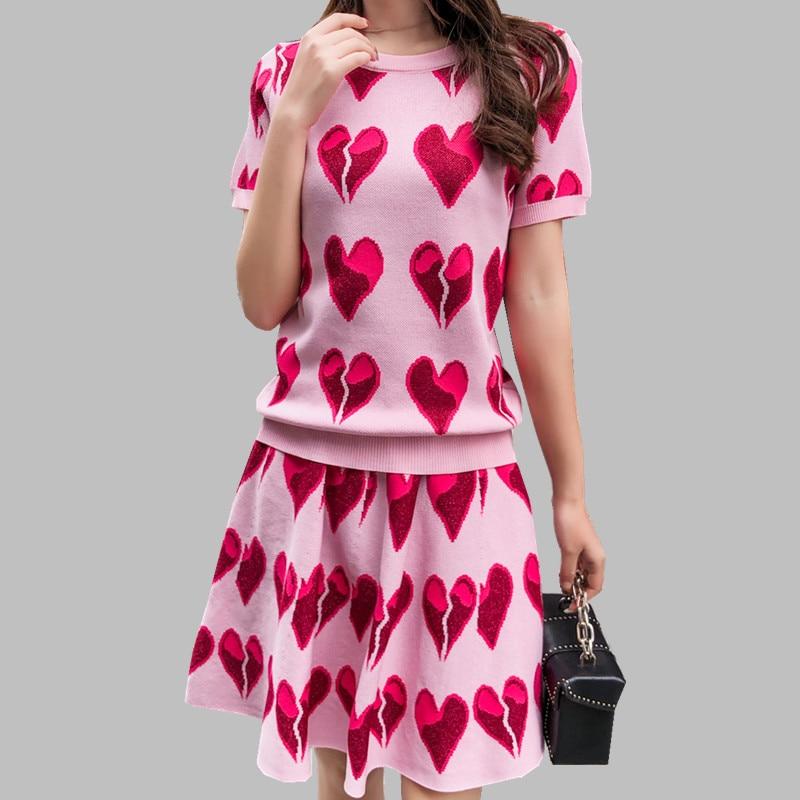 HAMALIEL 2019 Women Fashion Knit Sweater Skirts Sets Runway Summer Pink Love Print Knitted Tops + Ball Gown Short Skirt Suits