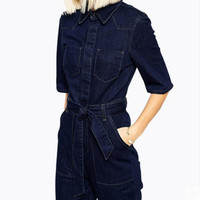 Denim Jumpsuits For Women 2019 Half Sleeve Jeans Rompers Female Elegant Office Ladies Slim Denim Wide Leg Overalls Plus Size