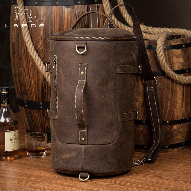 цена LAPOE genuine leather backpack men Large Capacity Mens Leather Backpack For Travel Casual Men Daypacks Travle Backpack mochila