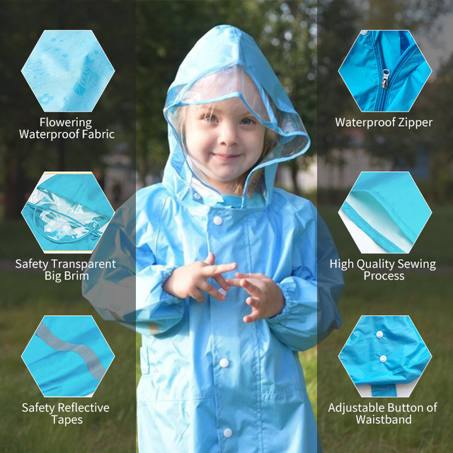 QIAN 2-9 Years Old Fashionable Waterproof Jumpsuit Raincoat Hooded Cartoon Kids One-Piece Rain Coat Tour Children Rain Gear Suit 5