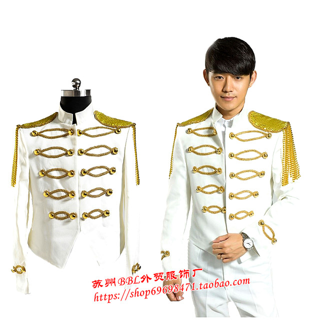 Nightclub singer host golden diamond white tuxedo Dance Costume Menu0027s Suit Royal Prince stage singer costumes  sc 1 st  Aliexpress & Online Shop Nightclub singer host golden diamond white tuxedo Dance ...