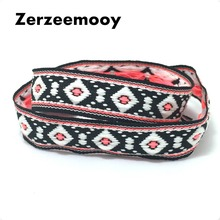 NEW 3/4''18mm 10yard/lots 100% polyester pink white and black geometry Woven Jacquard Ribbon dog chain accessories KTZD16080404