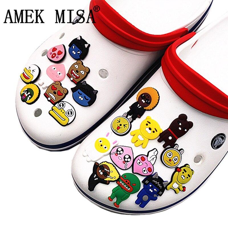 21pcs/set Novel Shoe Charms Accessories Korean Cartoon kakao Garden Shoe Decoration for croc jibz Kid's Party X-mas Gift DO-kk21