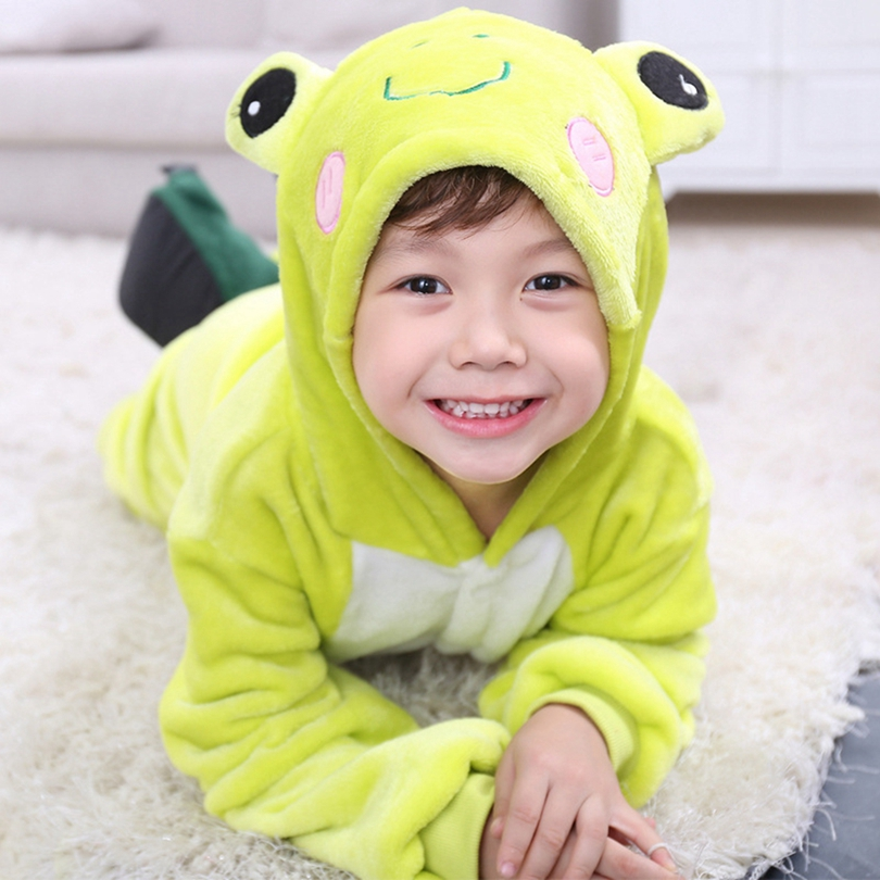 Chind Costume Green Frog Yellow Dog Pajama Cartoon Animal Kid Cosplay Winter Warm Fantasia Boy Girl Party Carnival Onesise Home