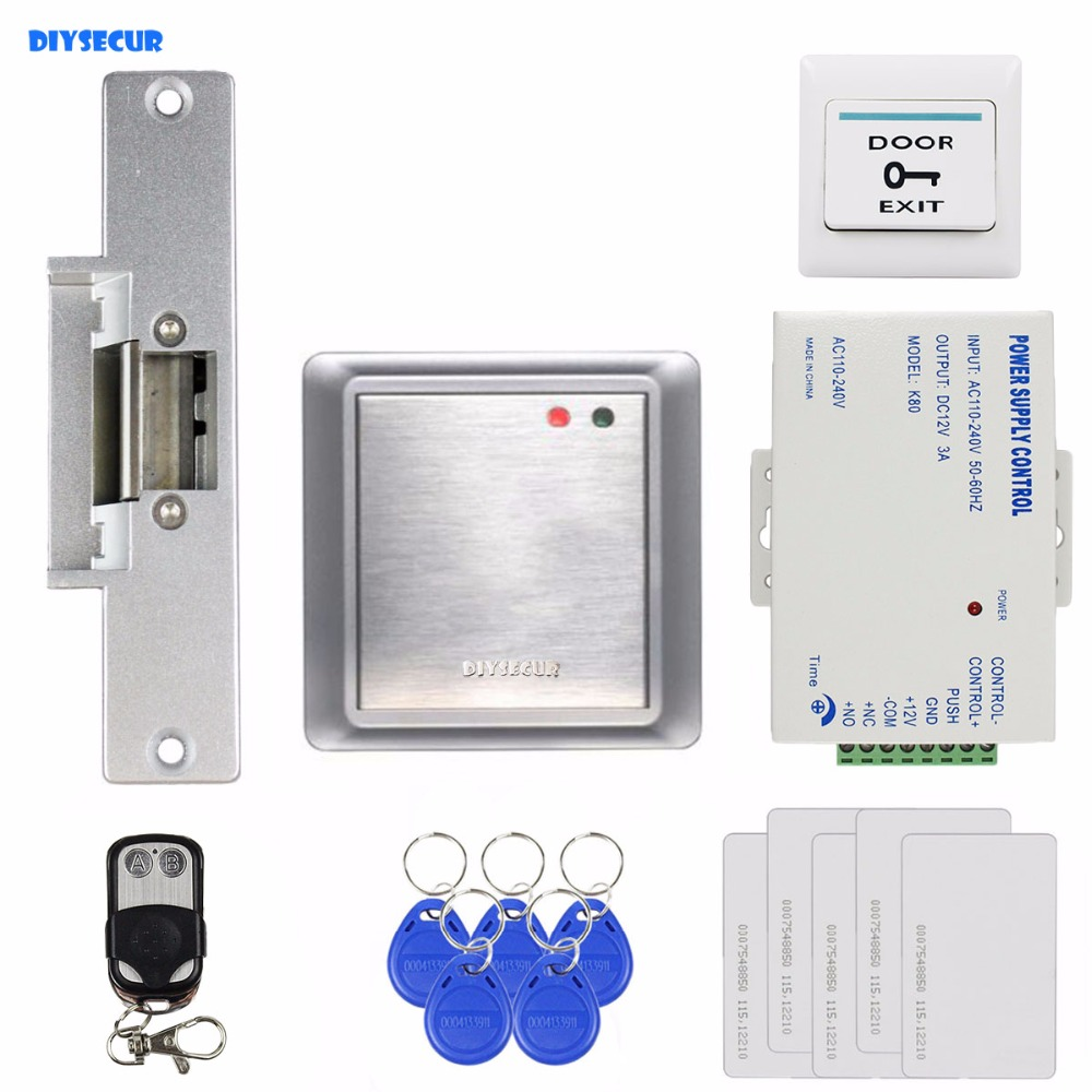 DIYSECUR Strike Lock Waterproof Remote Control 125KHz Rfid Card Reader Without Keypad Access Control System Kit 81678A diysecur magnetic lock door lock 125khz rfid password keypad access control system security kit for home office