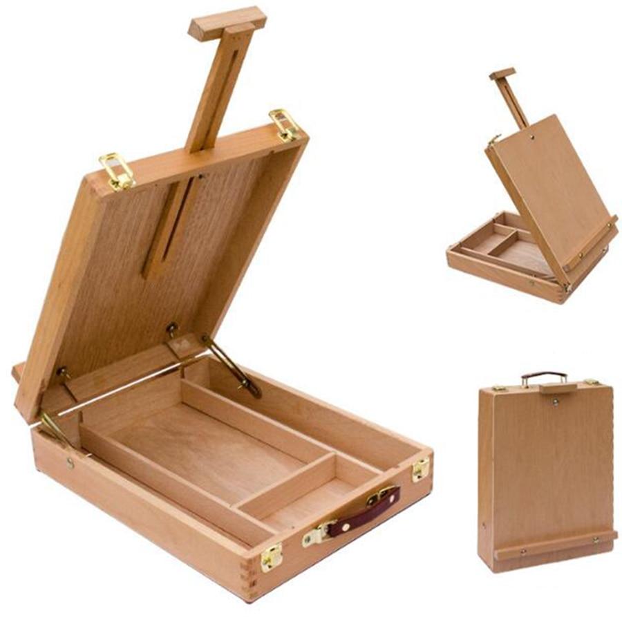 Multifonctionnel Chevalet de Intégré Boîte En Bois Art Dessin Peinture Table étagère à boîte peinture à l'huile Valise Boîte De Bureau Art Fournitures