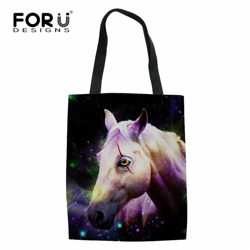 FORUDESIGNS Durable Foldable Shopping Bags Casual Women Linen Tote Bags Brand Designer Cloth Pouch Galaxy Star Animla Print Bag