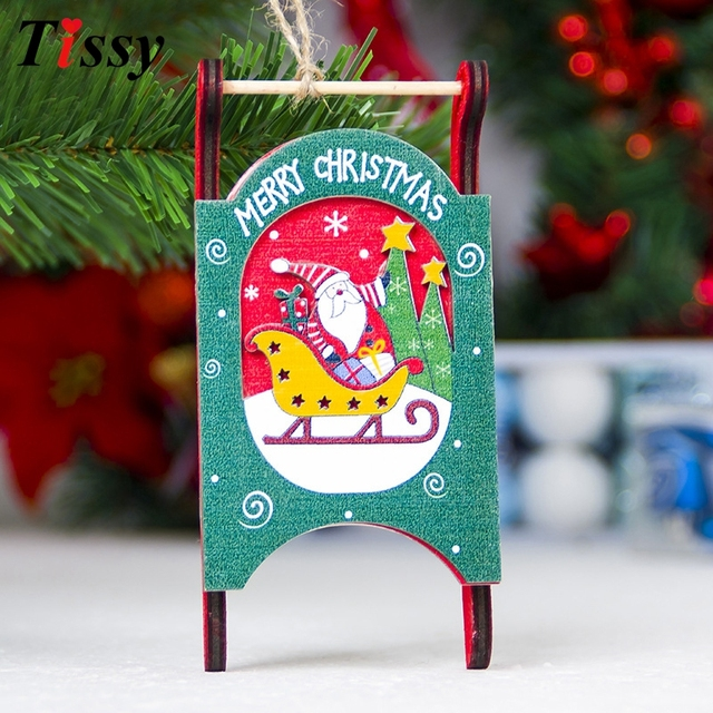 1pc christmas diy wood sled crafts sled wooden pendants ornaments xmas tree ornament for home christmas - Wooden Sled Decoration Christmas