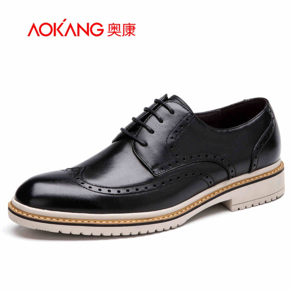 AOKANG 2017 New Arrival men's casual shoes men genuine leather shoes brogue shoes  men's fashion shoes free shipping aokang 2017 new arrival women flat genuine leather shoes red pink white women shoes breathable and soft free shipping