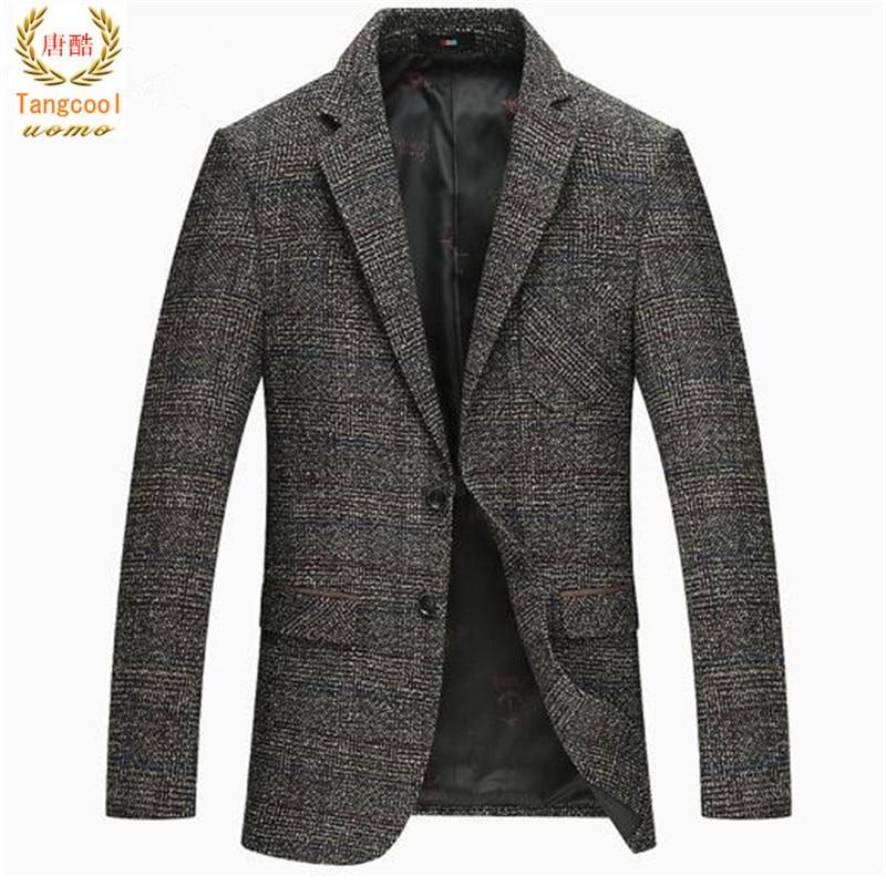 2018 Spring Autumn Winter Thicker Woolen Tweed Jackets Men Solid Grey Slim Fit Blazer Men Casual