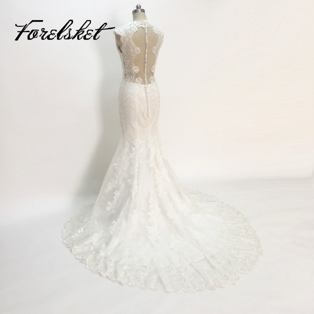 High Quality New Fashion Lace Mermaid Champagne And Ivory Wedding Dresses Off The Shoulder Bridal Gown