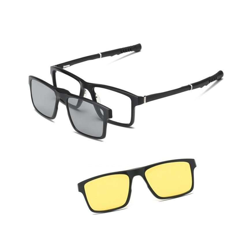 Eyeglasses Sport Frame Magnetic Clip On Polarized Sunglasses Extendable Arms For Men Running Fishing Baseball Sport
