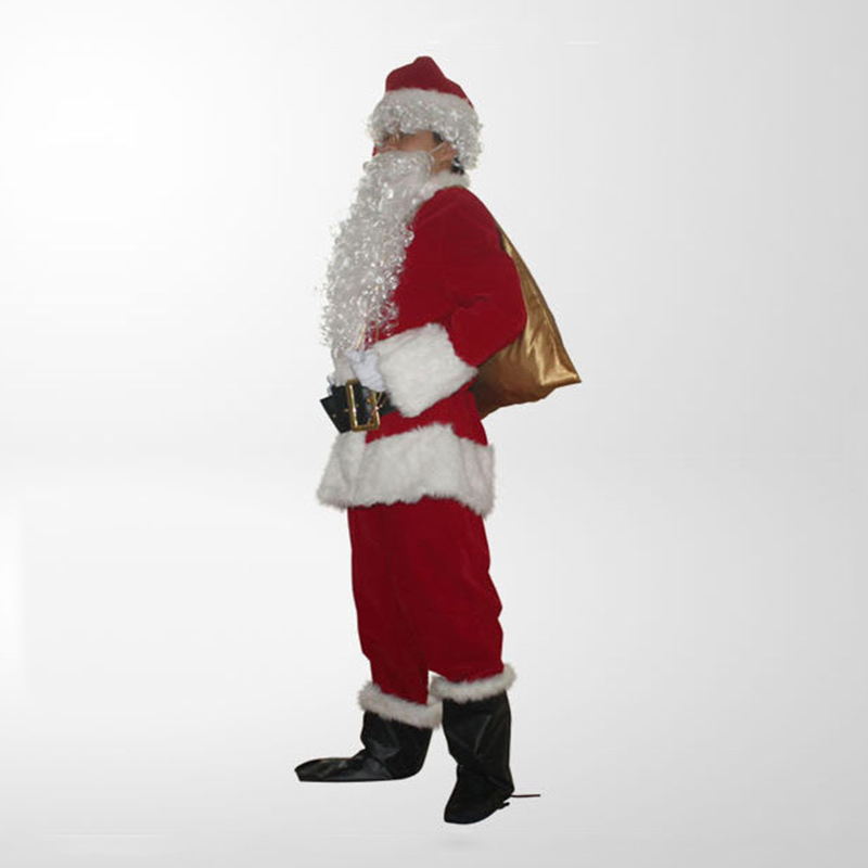 Christmas costume Santa Claus adult red Christmas clothes Santa Claus Costume Halloween Deluxe Set Christmas Cosplay Cute Suit