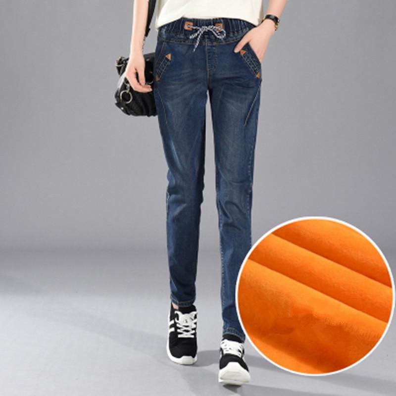 200 £ Plus Größe 5xl Frauen Winter Harlan Jeans Freizeit Elastische Taille Hose Dicke Mädchen Oberbekleidung Mit Samt Hosen Mz1891