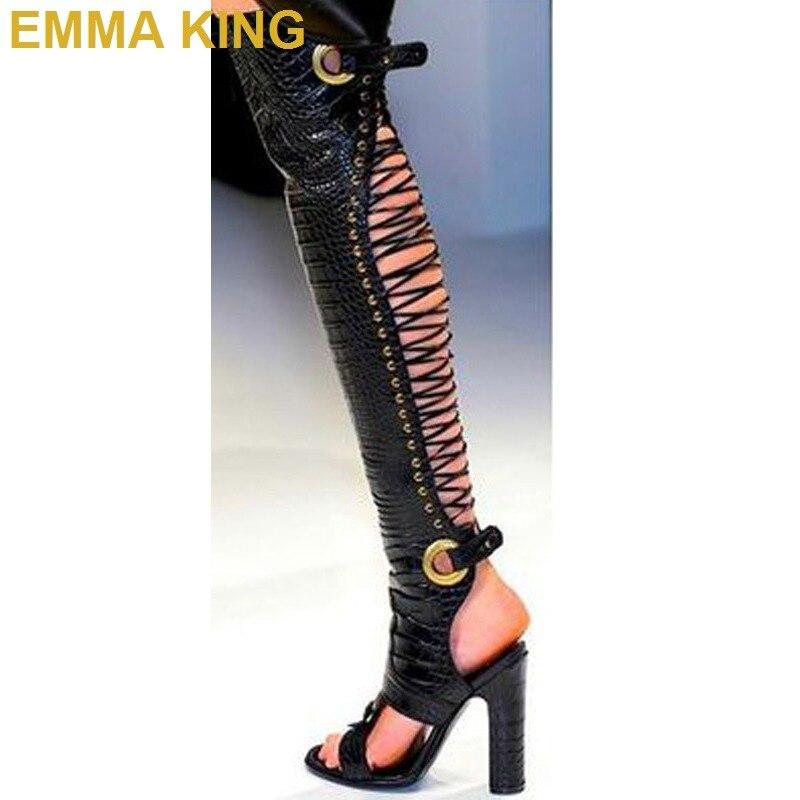 Пикантные женские босоножки выше колена на высоком каблуке; женские летние сапоги с вырезом сзади; римские сандалии; сандалии гладиаторы на квадратном каблуке; женская обувь - 4
