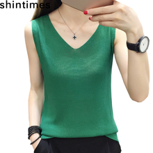 Shintimes Basic Summer Tops Fashion White Black Tank Top Women 2019 V-neck Loose knitted Sleeveless Sexy Womens Clothes