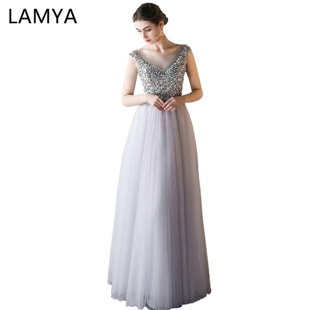 LAMYA Sexy O Neck Bling Beading A Line Prom Dresses Princess Evening Party Dress Elegant Crystal Gowns robe de soiree