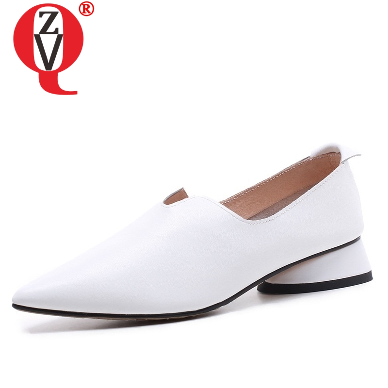 ZVQ office lady low thick heels genuine leather pointed toe graceful curve design spring shoes solid