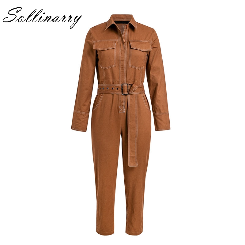fb39565f556 Sollinarry 3 Color Cotton Long Sleeve Jumpsuit Women Winter Casual White  Jumpsuit High Waist Belt Jumpsuit 2018 Autumn-in Jumpsuits from Women s  Clothing on ...