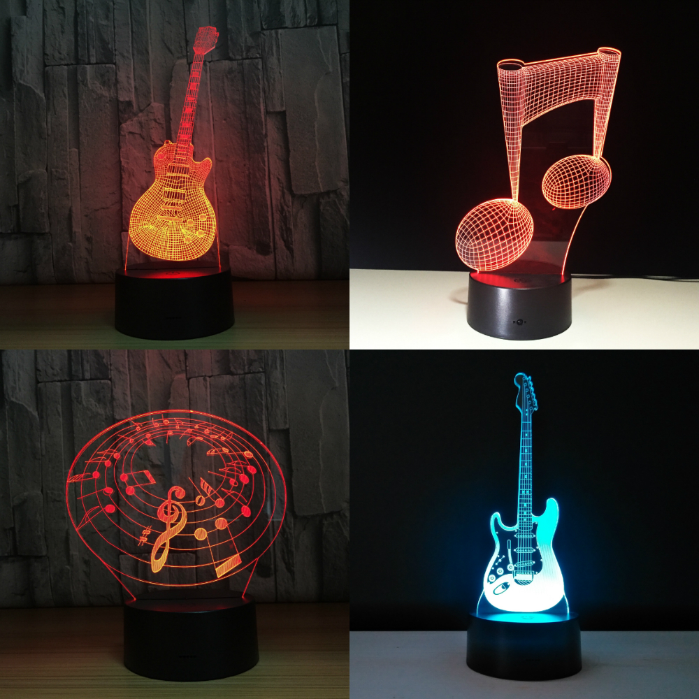 7Color Change LED Light Touch Sensor USB 3D Luminaria Music Note Night Lamp Instrument Lamp For Home Bar Decor Music Lovers Gift