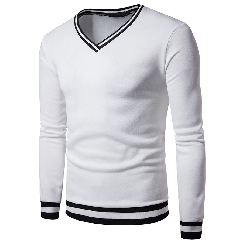 Men's Clothing Men Fashion Spring Casual Hoodies V Neck Long Sleeve Slim Fit Shirt Knitted Stiching Outwear Pullover Sweatshirts 8j1127 Aromatic Flavor